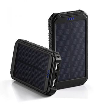 LBell Solar Charger with 2 USB Chargers for Cell Phones 1000mAh High Capacity Power Bank for Cell Phone Charger Accessories iPhone Samsung Android and other Phone Mobiles Batteriers Chargers