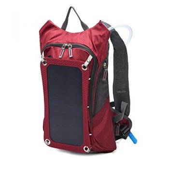 Huntvp Solar Backpack with Removable 7 Watts Solar Panel & 2L Hydration Bladder w/Flexible Drinking Pipe for Cell Phones and Tablets, GPS, eReaders