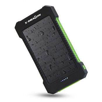 X-DRAGON 10000mAh Portable Solar Charger Power Bank for iPhone, iPad, Android Phones and Tablets, Gopro Camera and Other 5V USB devices